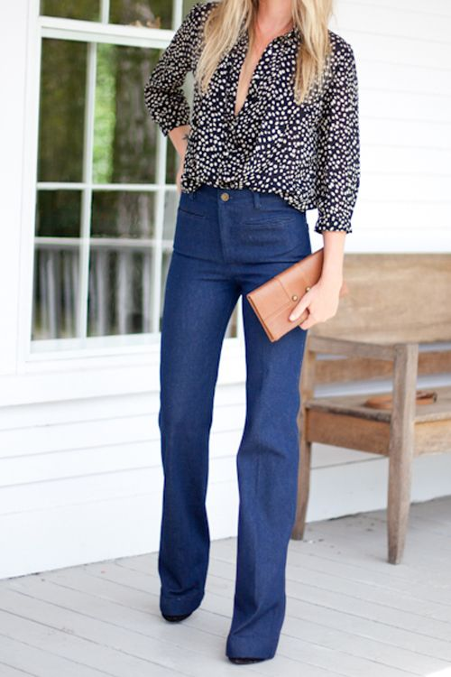 wish i could pull this off. high waisted jean trouser. flowy top.