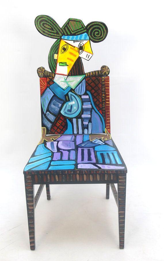 picasso femme assise dans un fauteuil rehauss e chaise. Black Bedroom Furniture Sets. Home Design Ideas