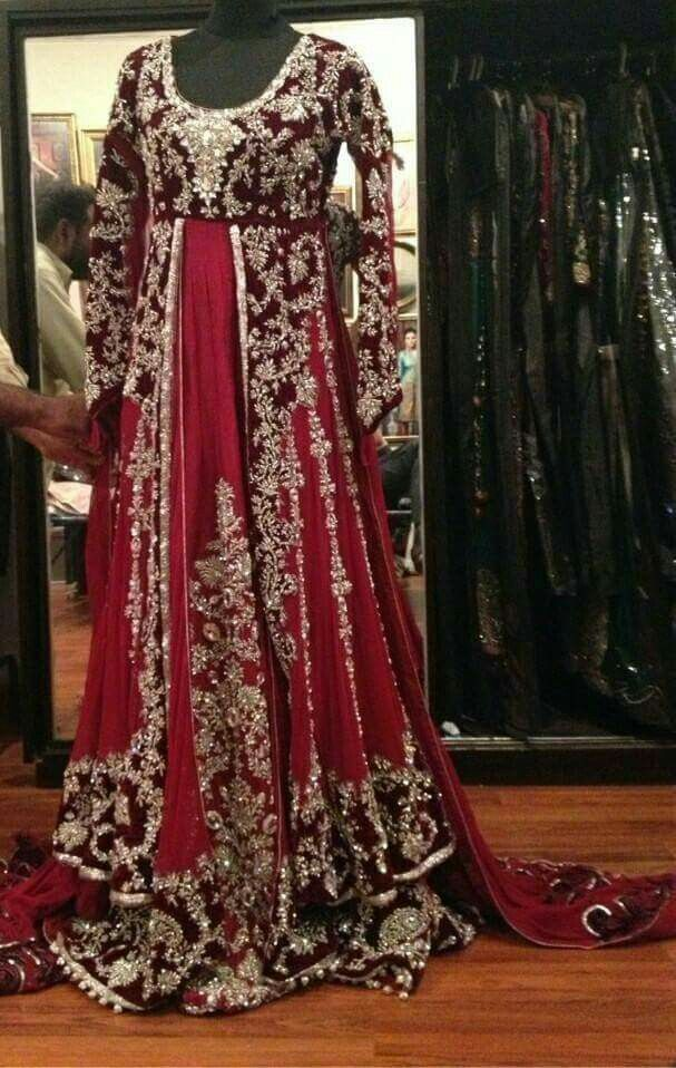 b9eefe309592 Deep red maroon long dress with heavy work..good for winter wedding ...