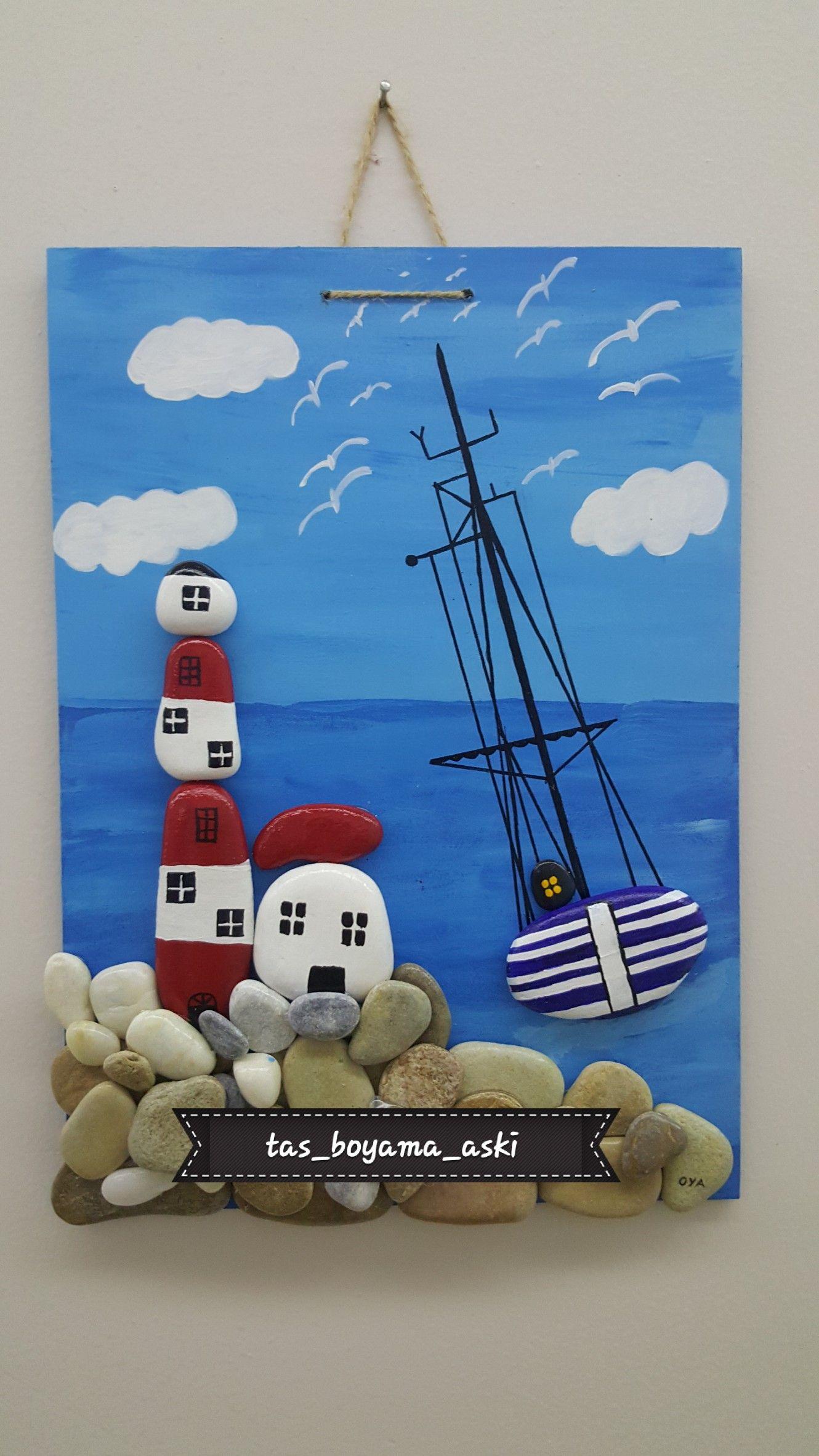 Deniz Feneri Tas Boyama Tablo Tablolar Deniz Feneri Sanat