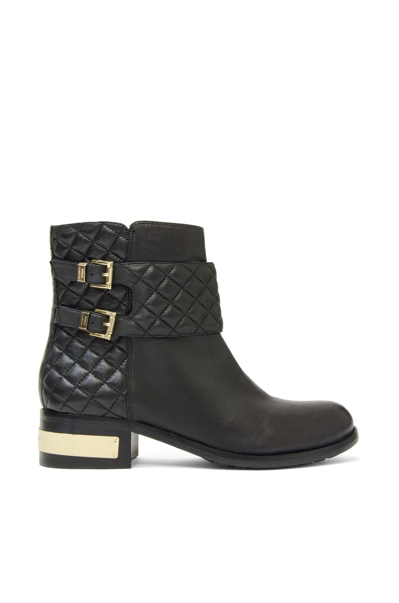 c9975e3c6785c Vince Camuto Black Leather Ankle Boot with Quilted Leather & Gold Accent
