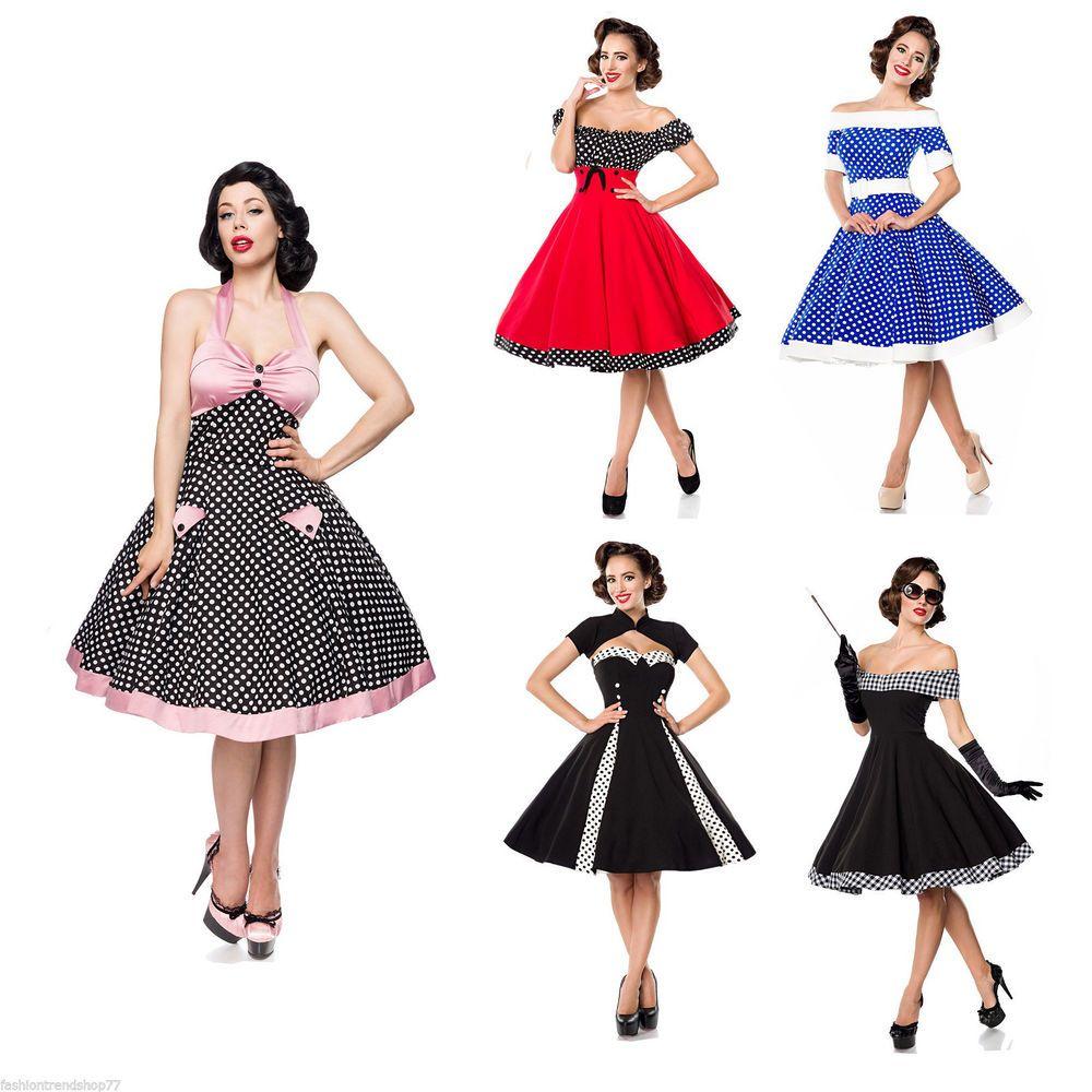 Details zu Rockabilly Kleid Swing Polka Dots 50er Jahre Retro Rock ...