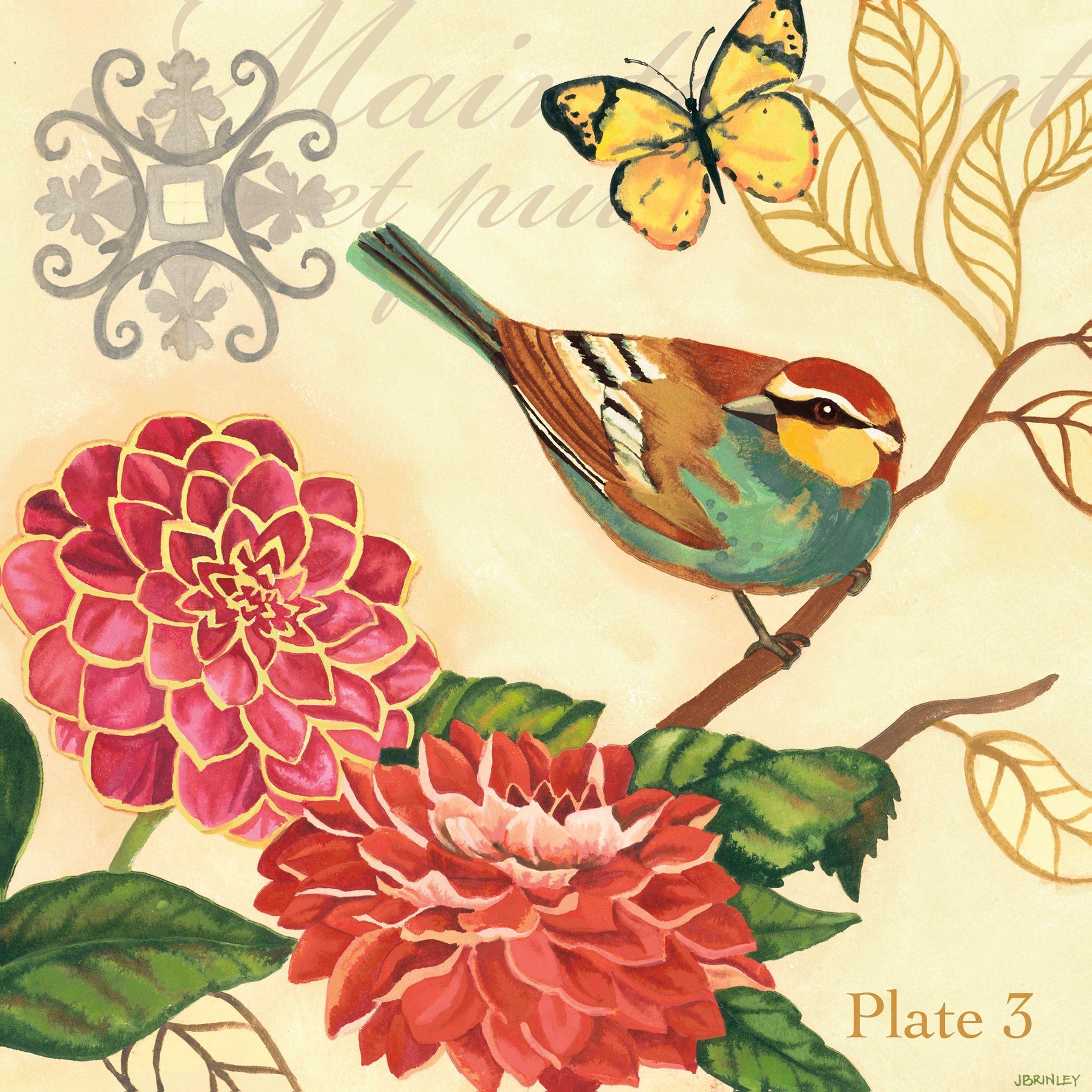 Portfolio Decor Jennifer Brinley \'Bird Garden Poppy\' 16x16 Framed ...