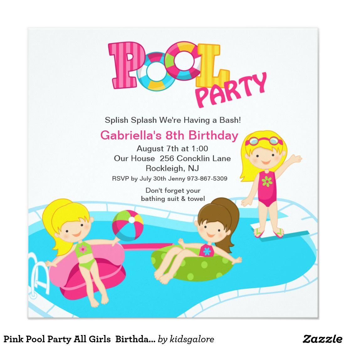 Fiesta en la piscina rosada toda la invitaci n del for Ideas para cumpleanos en piscina