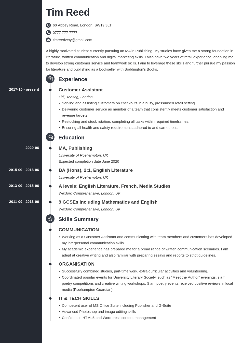 uk student cv example template concept in 2020 Student