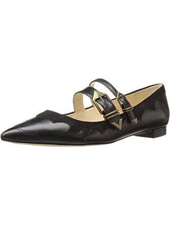 Nine West Women's Alina Leather Pointed Toe Flat, Black, 5 M US ❤ Nine West
