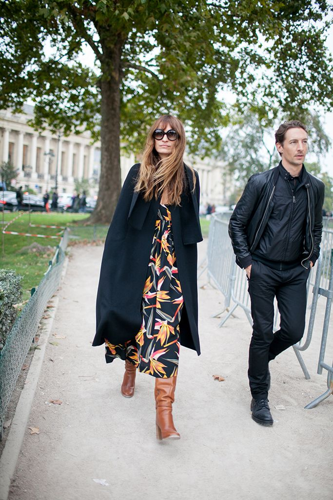 Paris Fashion Week street style - jacket, printed maxi dress, tall boots