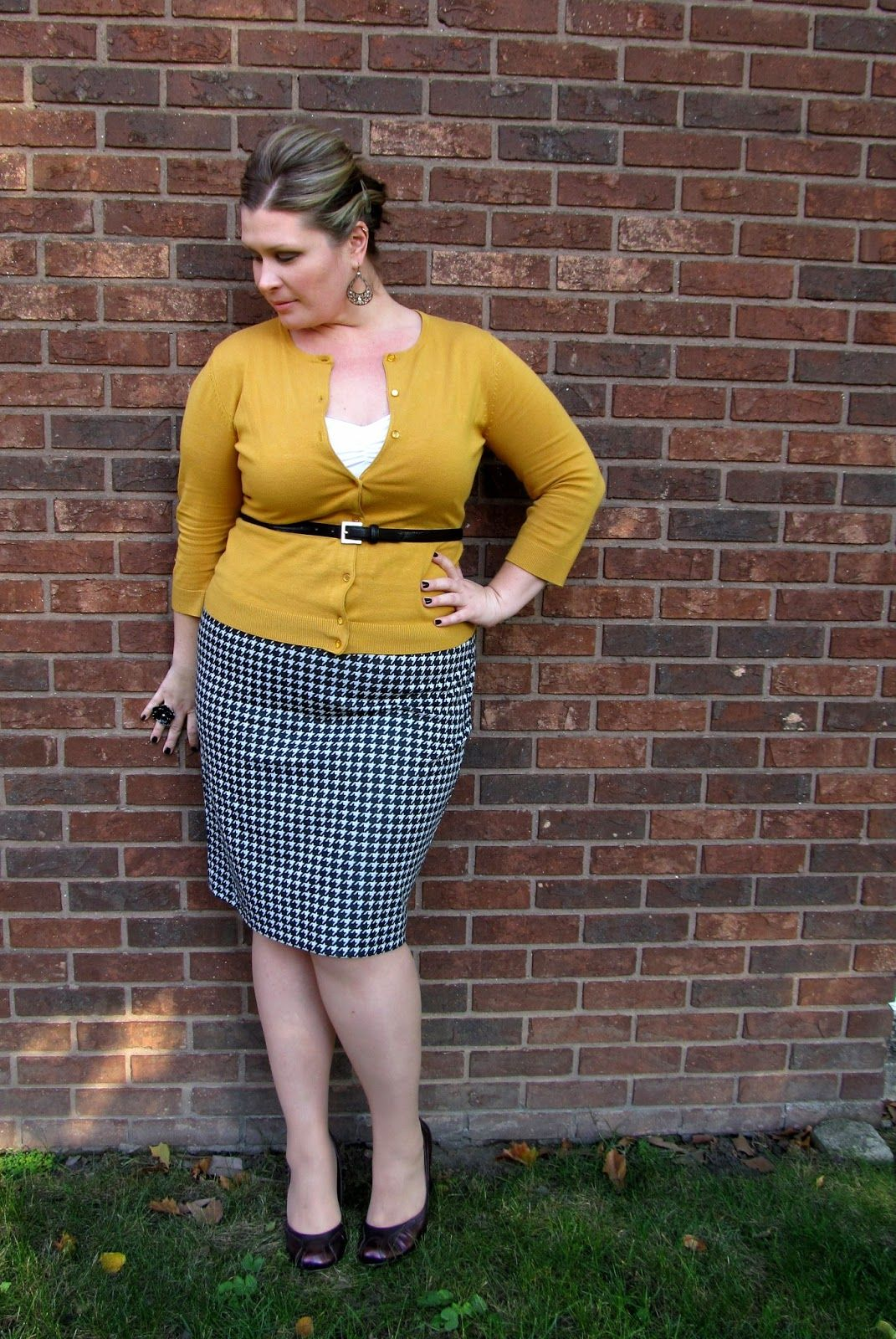 Hounds Tooth Pencil Skirt, Mustard Cardigan