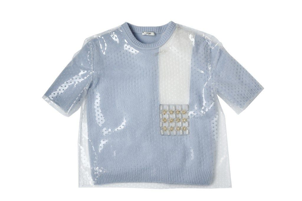Fendi - Layered PVC over cropped knit sweater