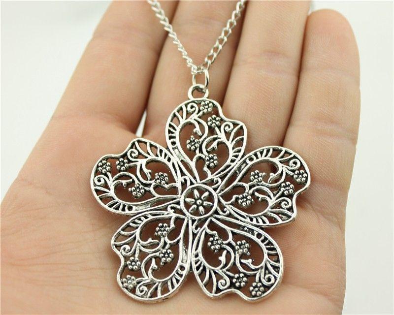Wysiwyg moda 2 colori bronzo antico, argento antico di tono 56*52mm grandi fiori collana del pendente, 70 cm lunga collana a catena