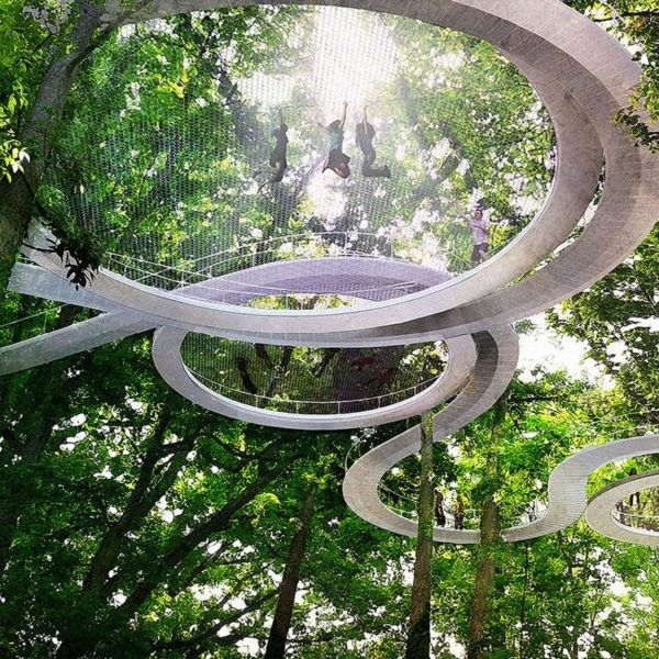 Elevated Forest Park Includes a Trampoline to Bounce Among the Treetops