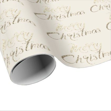 Merry Christmas Faux Gold Glitter Script Ivory Wrapping Paper Gold