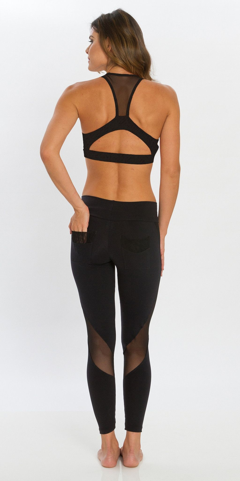 ad9e89249a48b5 A winning combination of net panels with our favorite Microtouch fabric.  Has pockets on the back. Feels great, like butter on the body. A perfect  legging ...