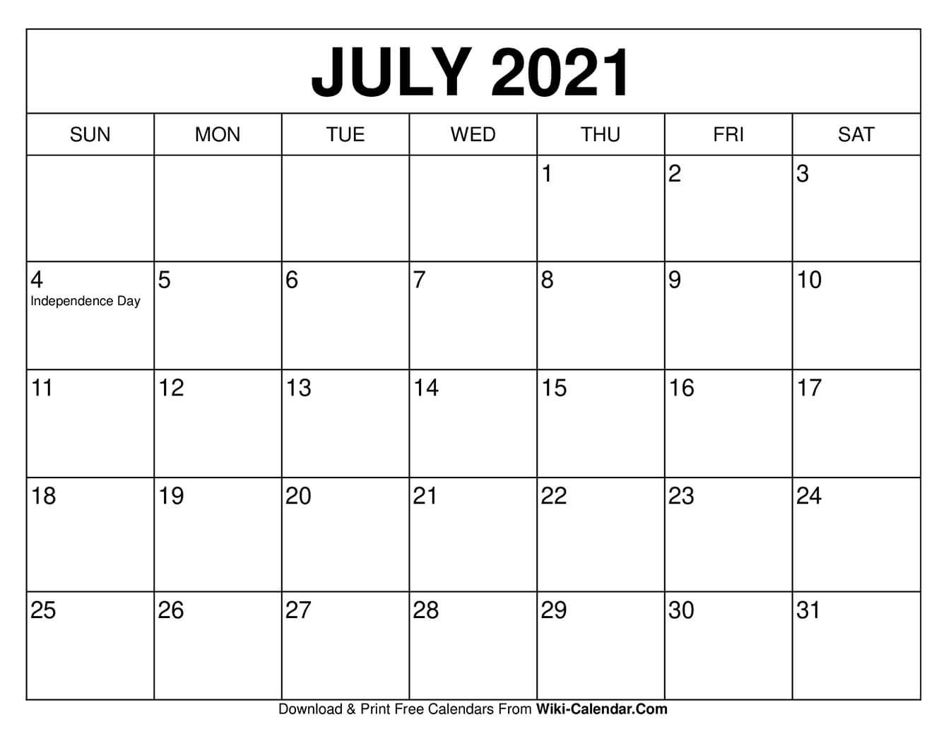 July 2021 Calendar in 2020 | Blank calendar template, Calendar