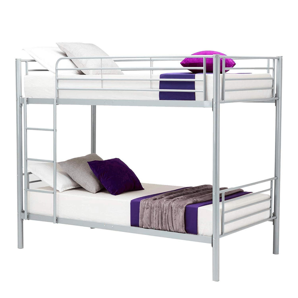 Amazon Com Joybase Metal Bunk Bed Twin Over Twin With Removable Ladder And Guard Rail Space Saving Design Grey