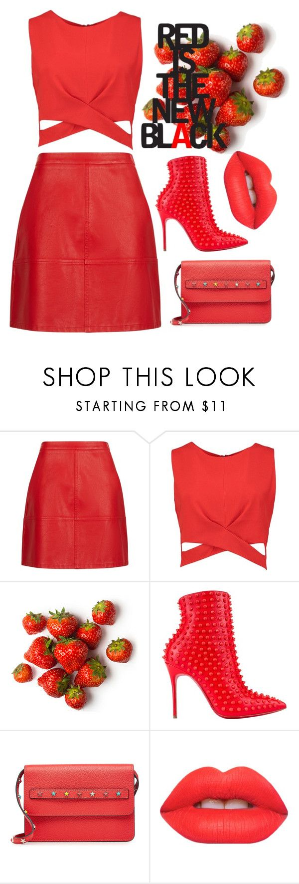 """red is the new black"" by ashaedey ❤ liked on Polyvore featuring Boohoo, Christian Louboutin, RED Valentino, Lime Crime, monochrome, contest and red"