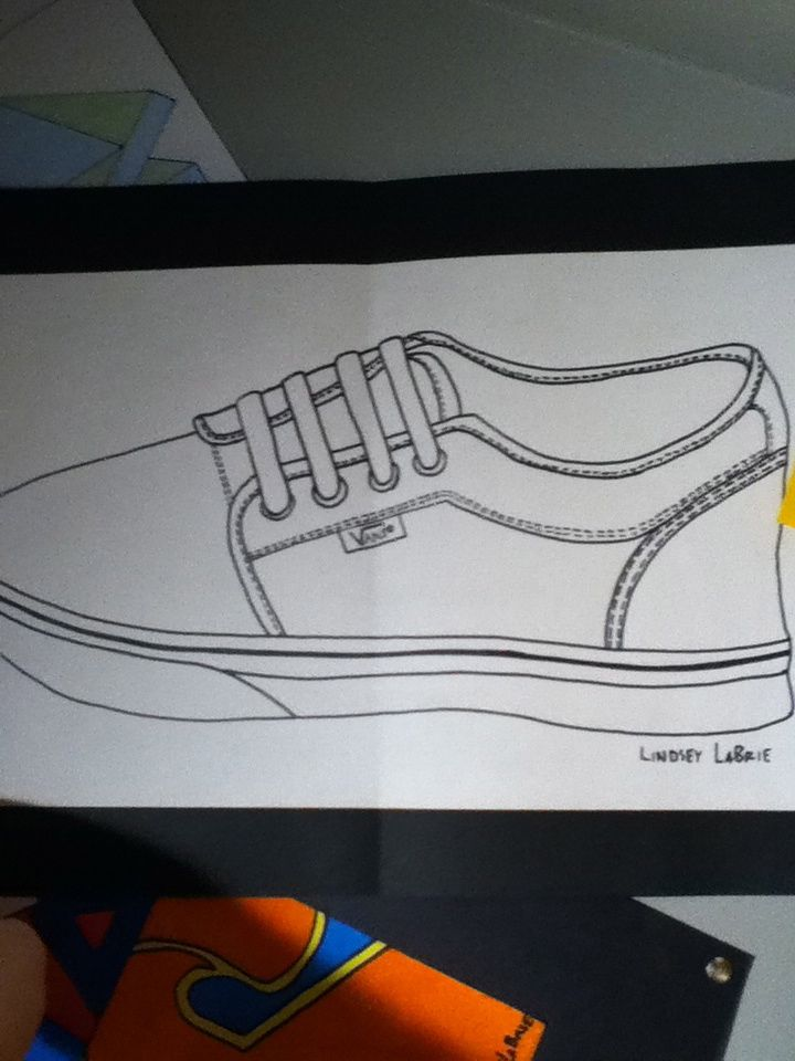 Contour drawing of my Vans shoe | My Art | Drawings, Contour