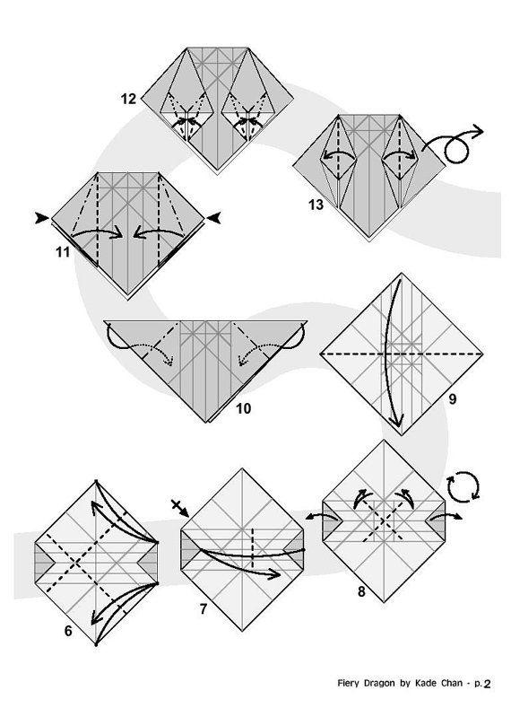 fiery dragon diagram 2 of 8 paper origami origami