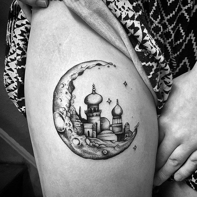 Abstract moon tattoo