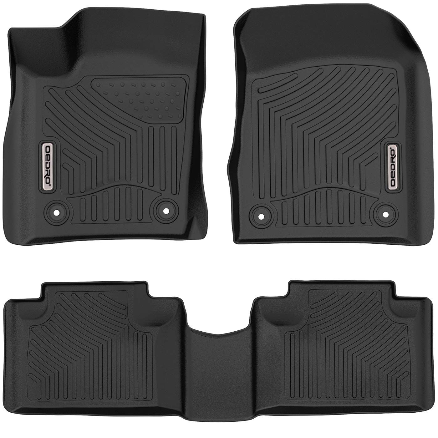 Rear Unique Black TPE All-Weather Guard Includes 1st and 2nd Row: Front oEdRo Floor Mats Compatible for 2013-2016 Ford Fusion Energi//Titanium//Lincoln MKZ Full Set Liners