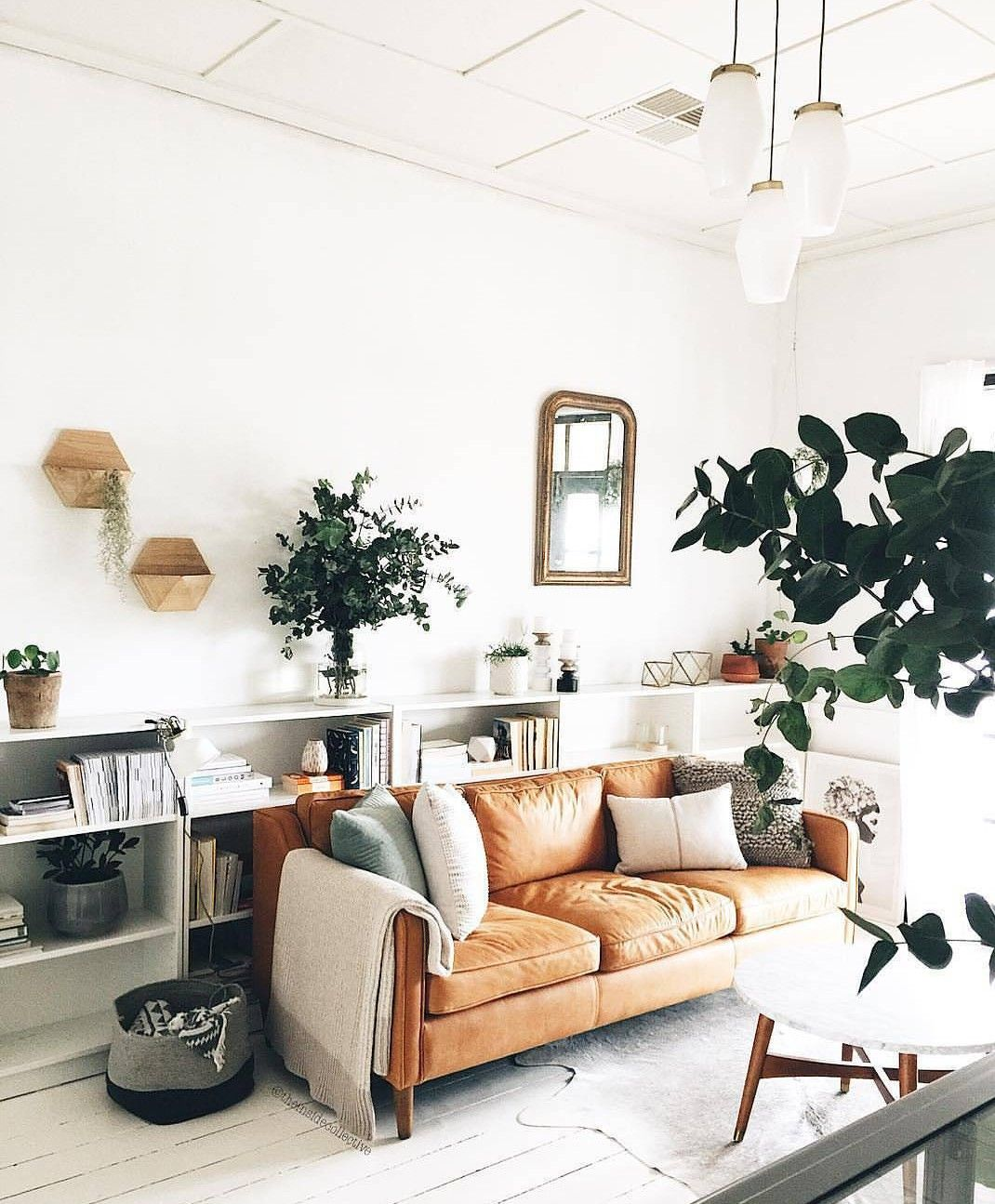 Love These Bookshelves Behind The West Elm Couch Leather Couches Living Room Furniture Design Living Room Couches Living Room