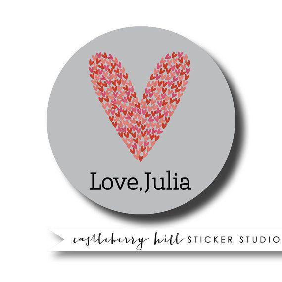Personalized gift sticker valentines day sticker heart sticker kids gift labels heart
