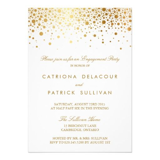 Faux Gold Foil Elegant Engagement Party Invitation Engagement - engagement party invites templates