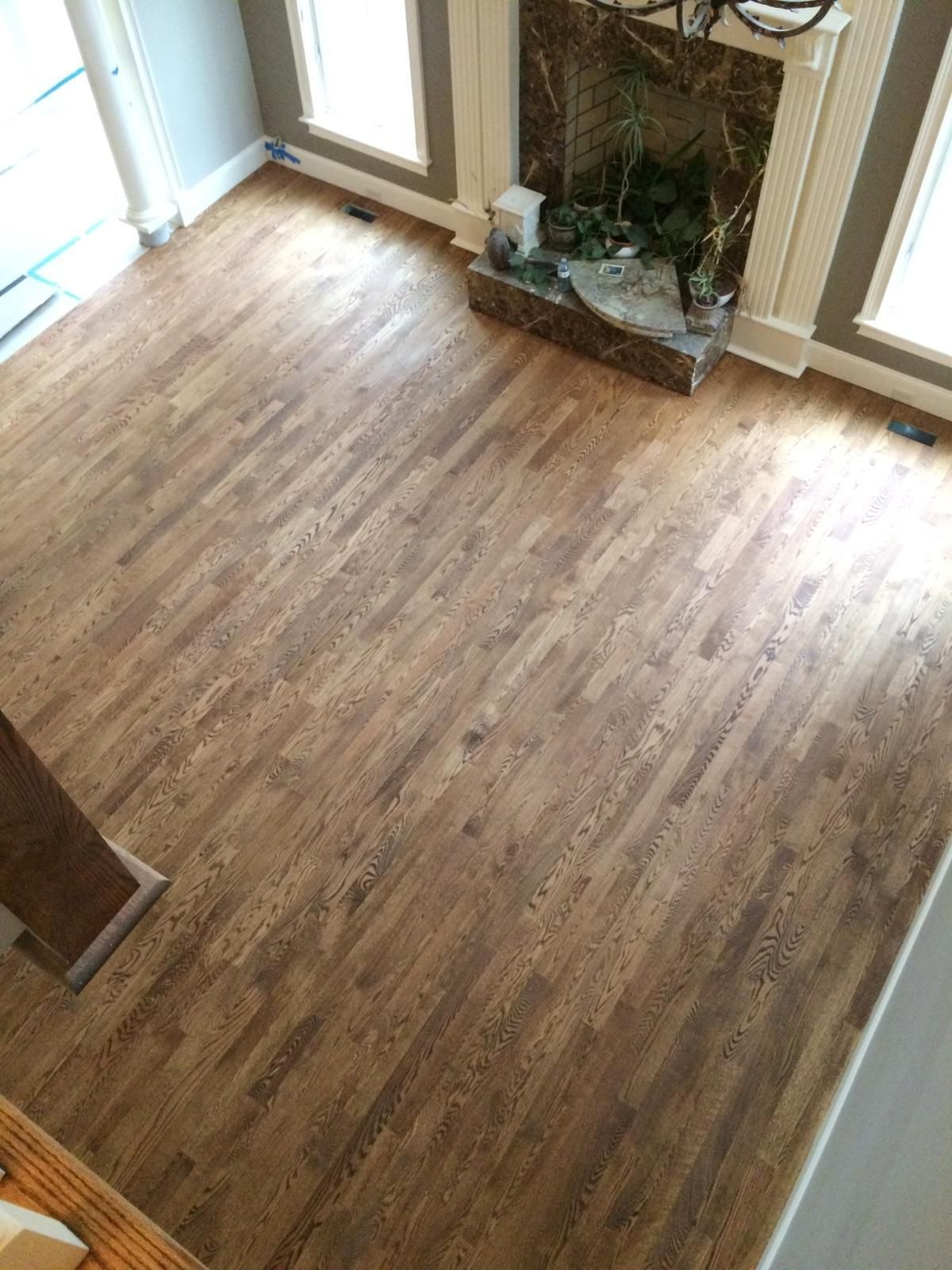 Red oak hardwood floors with custom stain colonial maple and