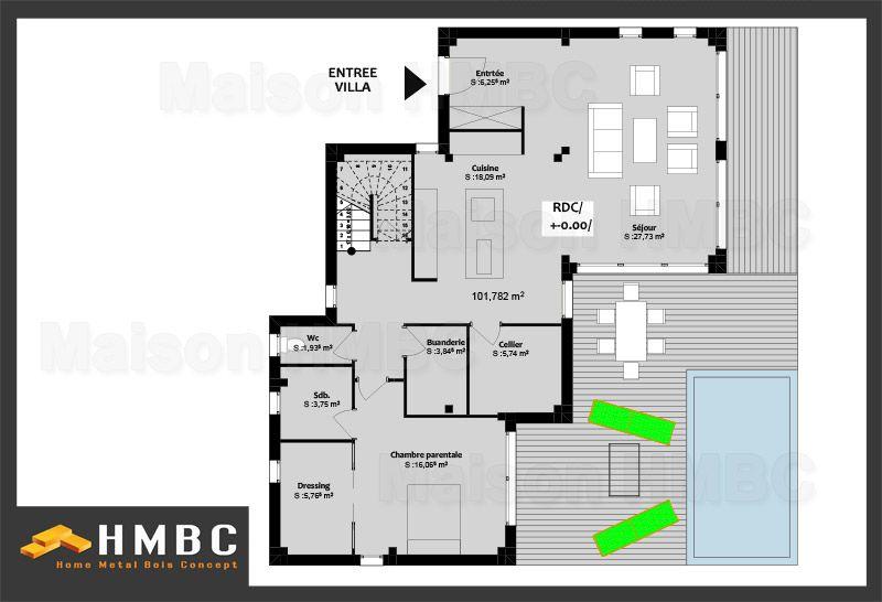 Plan Maison De 137m2 Bbc Elodie Etage Hmbc Home Metal Bois Concept Constructeur De Maison Maison Moderne Constructeur De Maison Individuelle Maison Bbc