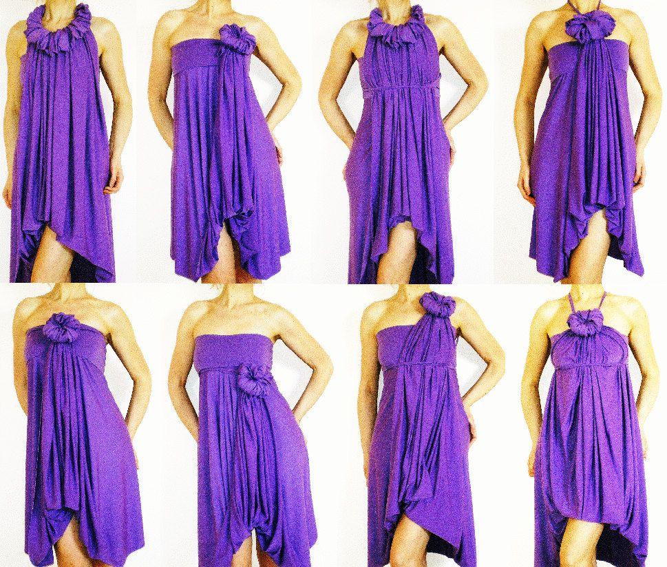 PURPLE BRIDESMAIDS DRESS - Wrap Infinity Multi - way dress in purple ...