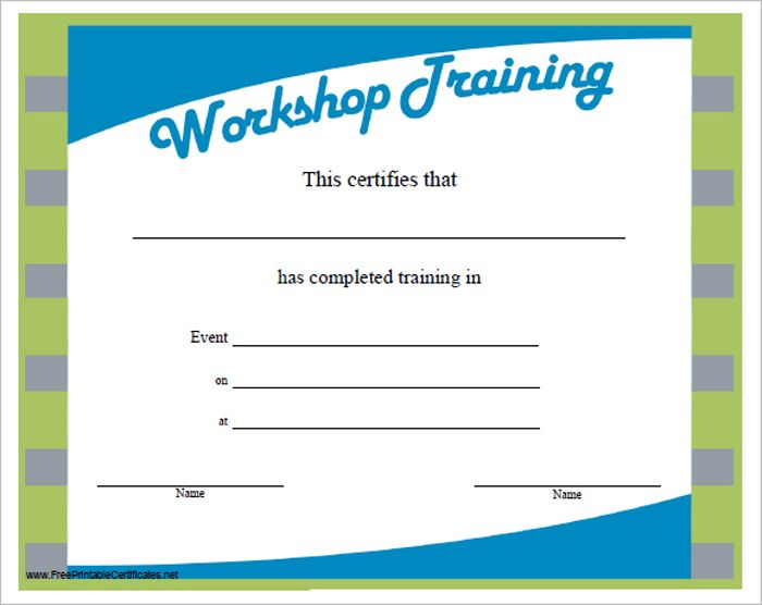 Workshop Training  Free Certificate  Templates