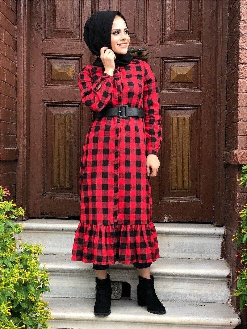 Modaonur Tesettur Ekose Gomlek Elbise Modelleri Moda Tesettur Giyim Gomlek Elbise Moda Stilleri Elbise Modelleri