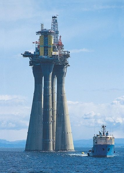 """An oil rig structure called """"Troll A"""" – the biggest man-made"""