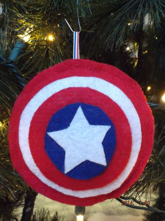 Captain America Shield Christmas Tree Ornament On Etsy Geek Christmas Ornaments Felt Christmas Felt Christmas Decorations