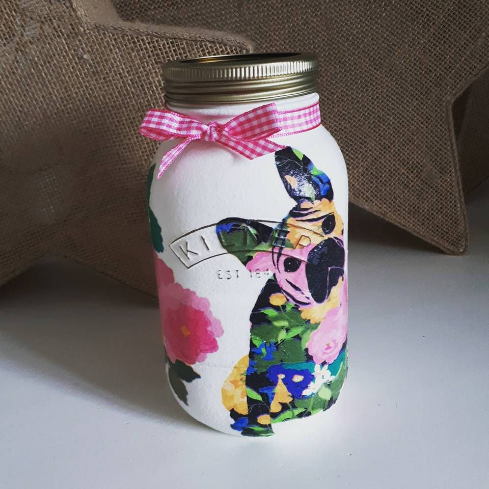 Hand Painted and decoupaged 1 ltr Kilner Jar French