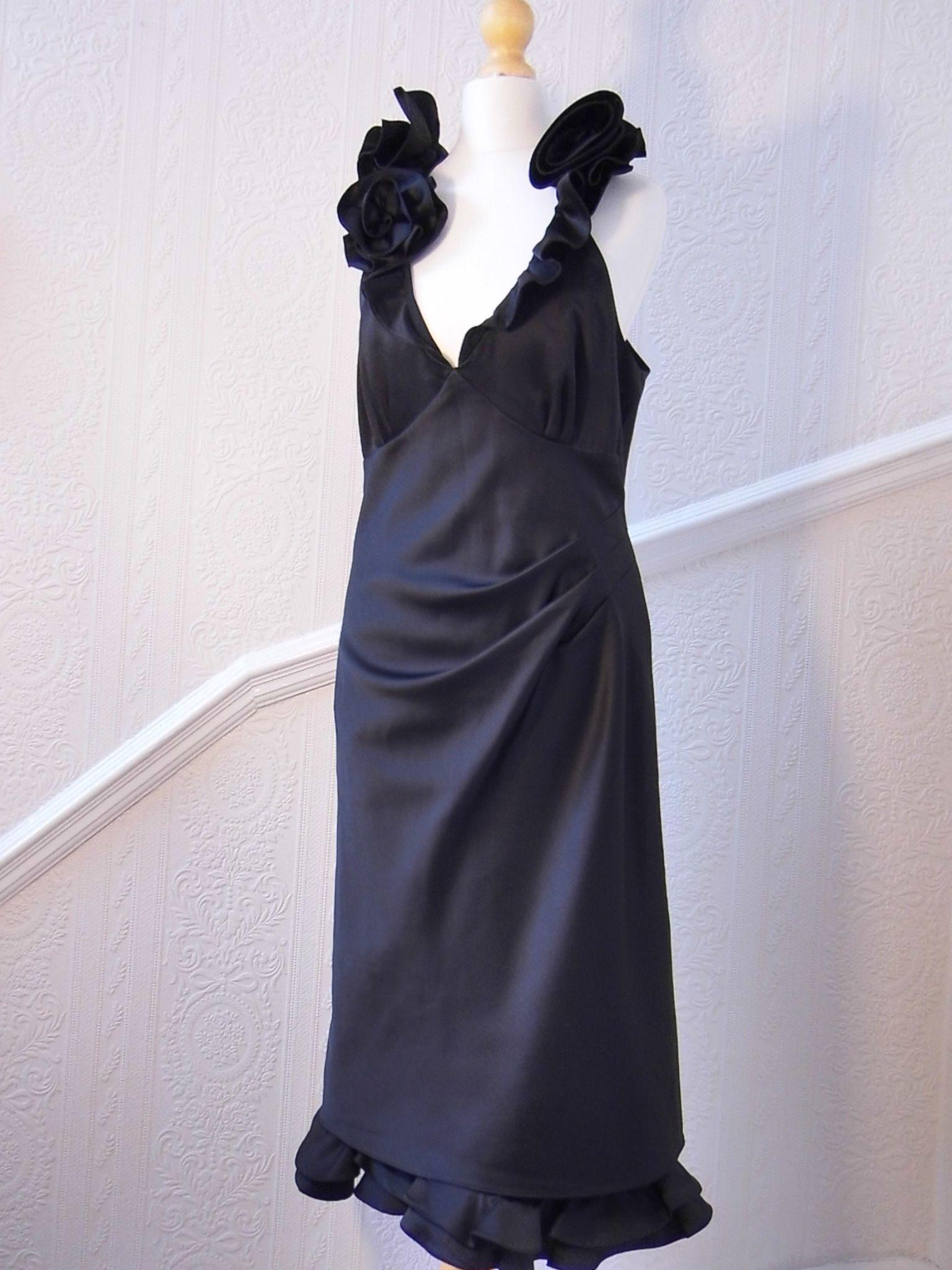 Exquisite KAREN MILLEN satin dress floral neckline detail (Size 12)  Visit our Facebook eBay shop or click here : http://www.ebay.co.uk/itm/251495953730?ssPageName=STRK%3AMESELX%3AIT&_trksid=p3984.m1555.l2649