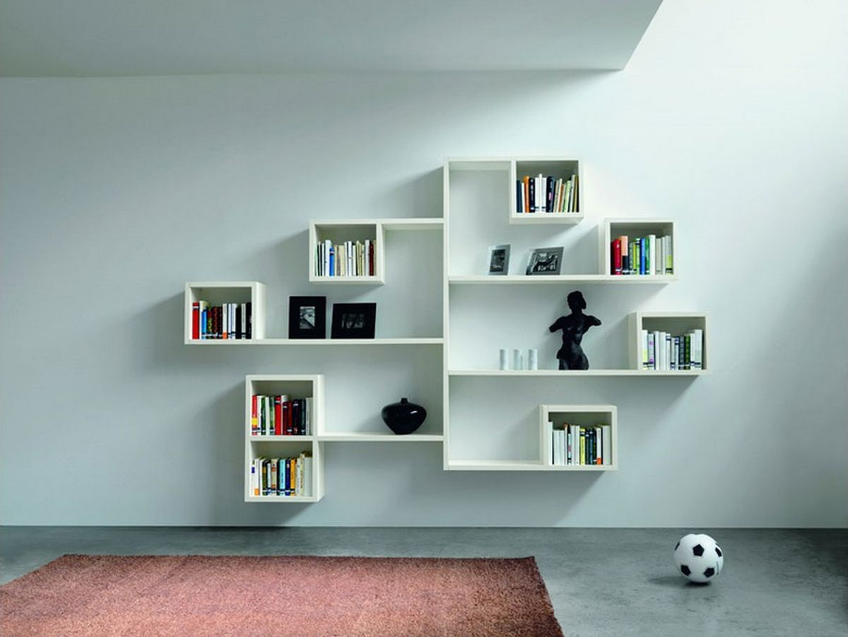 Furniture Neutral Colors Ideas Curved Wall Shelves Design With Books And Black Porcelains And Photo Frame Wall Shelf Decor Shelving Design Living Room Shelves #shelves #designs #living #room