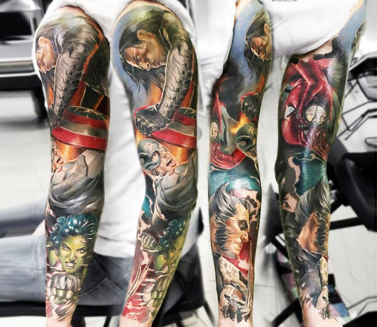 Marvel Sleeve Tattoo By Sasha O Kharin Post 13458 Tattoo Sleeve Men Sleeve Tattoos Avengers Tattoo