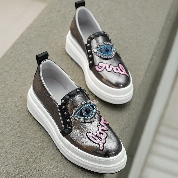 MLJUESE 2020 fashion sneakers cow leather casual shoes autumn spring letters Vulcanize Shoes platfor