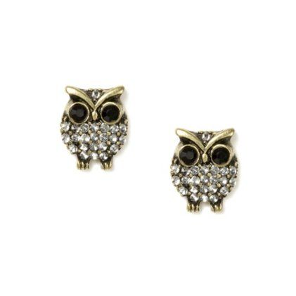 Find This Pin And More On All Things Owls Crystal Owl Stud Earrings
