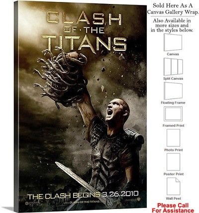 """Clash of the Titans Famous Movie Theater 2010 Art Canvas Wrap 20"""" x 30"""""""
