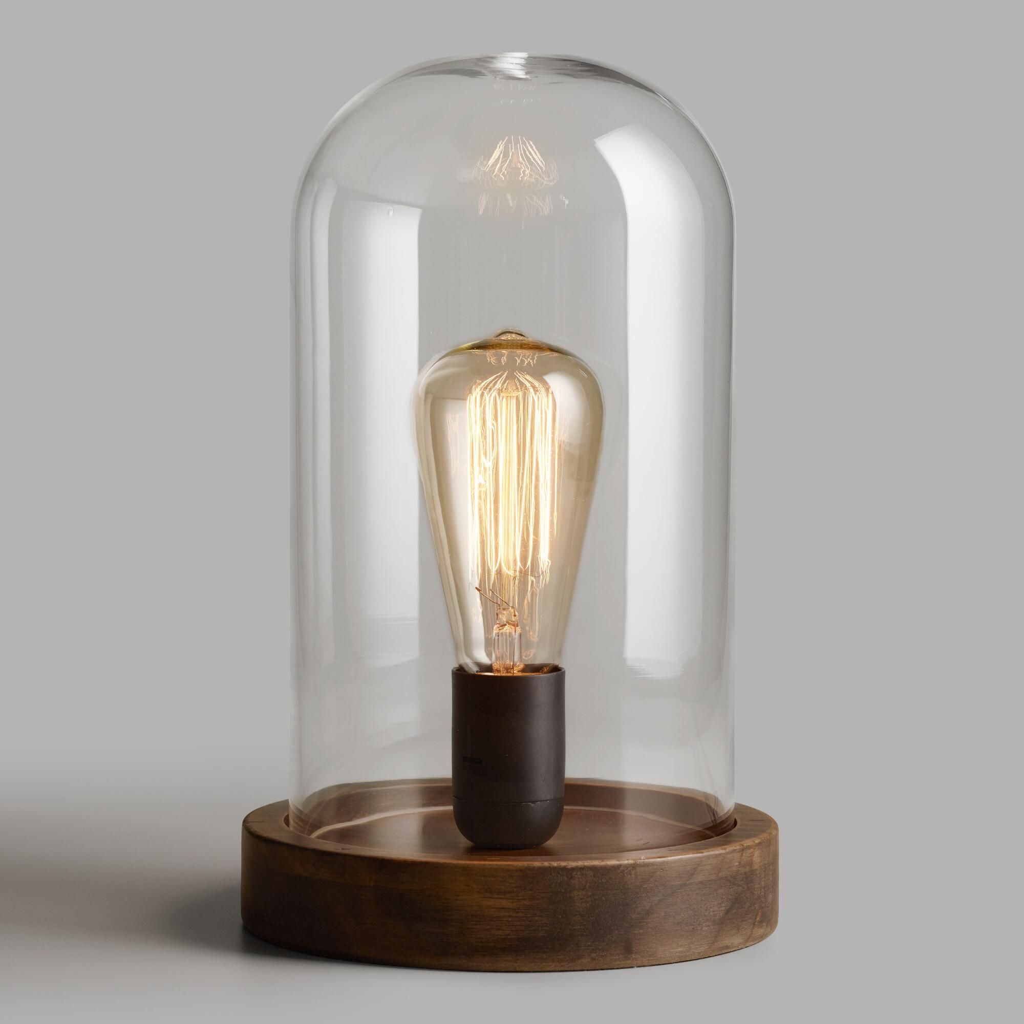 Glass Edison Lamp Edison Glass Cloche Table Lamp Brown By World Market In