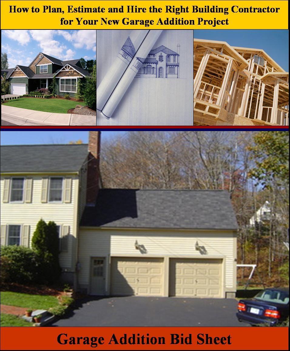 Garage Addition Bid Sheet Helping Homeowners