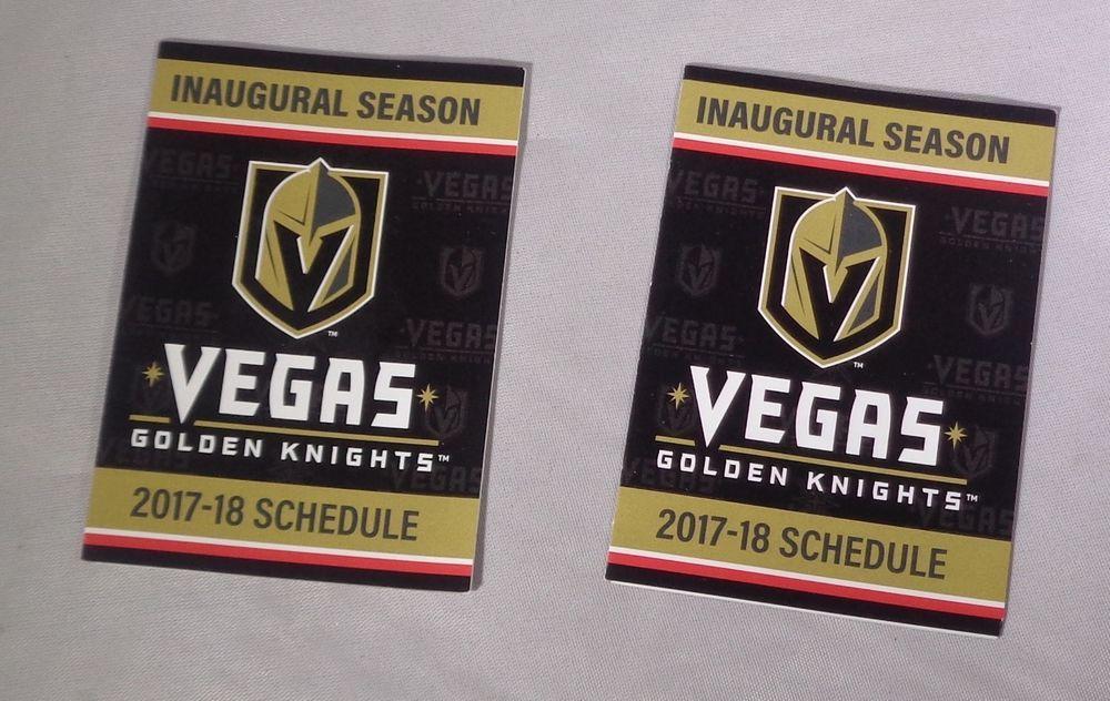2 Nhl Las Vegas Golden Knights 2017 2018 Inaugural Season Pocket Schedule Pocket Vegas Golden Knights Las Vegas Knights Las Vegas