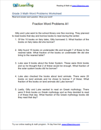 Grade 3 Fractions Word Problem Worksheet Worksheets Mathematics