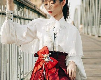 Photo of Wa Lolita Fashion Retro Japanese Taishō Period Style High Waist Pleated Green Burgundy Yellow Maxi Skirt