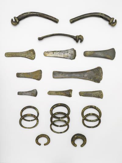 Vognudstyret fra Gallemose. I Gallemosen på Djursland blev der i slutningen af stenalderen (omkring 2000 f.v.t.) nedlagt et offer med nogle specielle genstande. Det var dyrebare sager af bronze – økser, ringe og nogle tunge krogformede beslag. Disse beslag kan have siddet på åget i forspandet til en let, tohjulet vogn. Genstandene blev fundet i løbet af nogle dage i 1887 af et par drenge, der vogtede kvæg ved Gallemosen.  Vognudstyret fra Gallemose