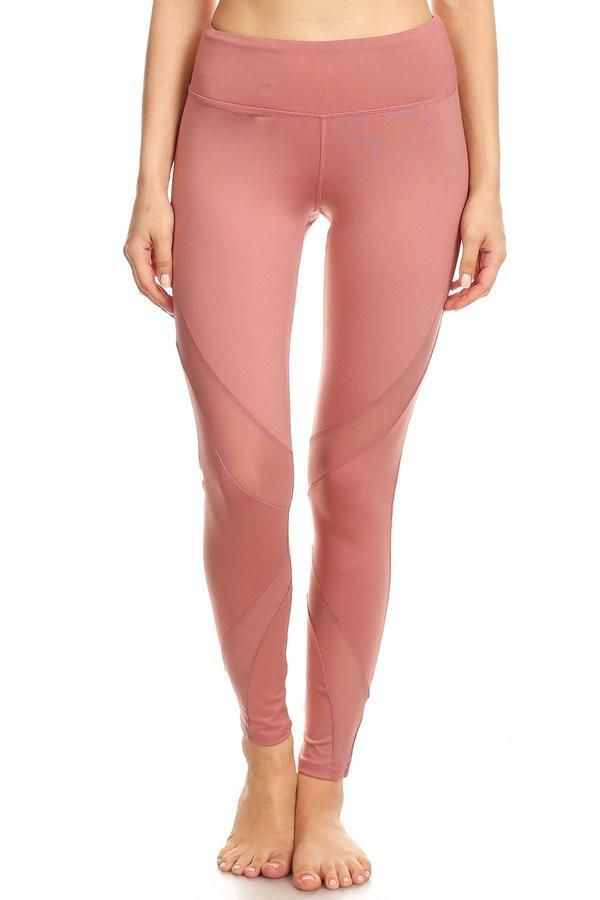 d3dc4c1ea4118 Dusty Rose Mesh Workout Leggings | Track and field outfits ...