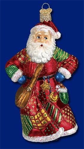 Patchwork Santa Christmas Glass Ornaments Www Oldworldchristmas