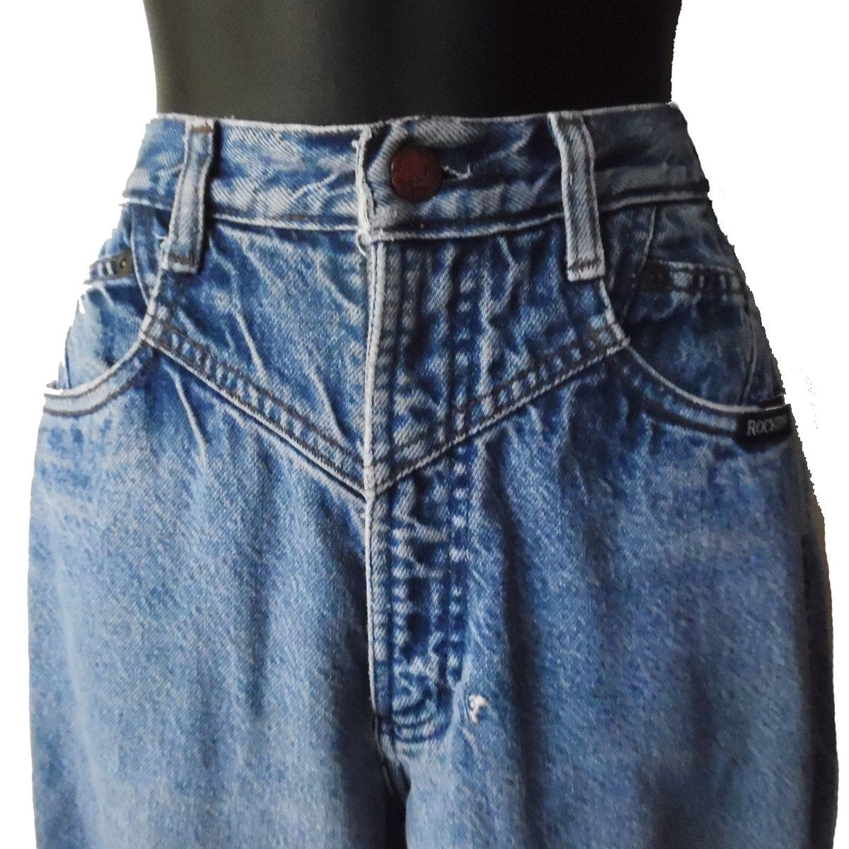 24c1b957f6 Women's Vintage 80s High Waisted Denim Rocky Mountain Pleated Front Denim  Mom Jeans by SlowBurnThreads on Etsy